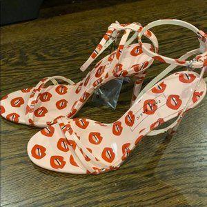 Zara Lip Print Heeled Strappy Sandals